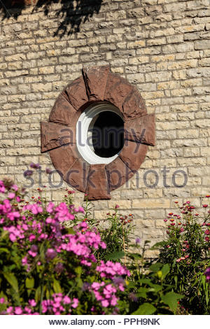 Oculus window of Kew Williams historic house a Queen Anne Revival cottage in Kew Beach Park in The Beaches area of Toronto Ontario Canada - Stock Photo