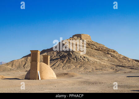 Towers of Silence in Yazd, Iran, in the middle of the desert. Also known as Dakhma, These towers were used in the Zoroastrian religion to dispose of t - Stock Photo