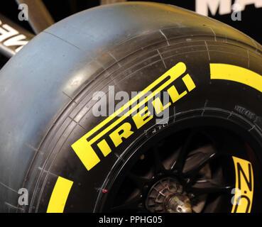 Paris, France, 21 september 2018: Pirelli race tyre in Paris, France - Stock Photo