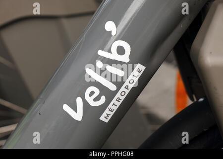 Paris, France, 21 september 2018:letters velib on a bike frame in Paris - Stock Photo