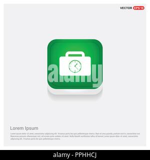 Briefcase with Clock Icon - Stock Photo