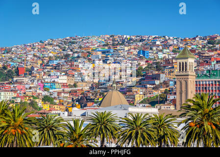 Colorful houses on a hill of Valparaiso, Chile - Stock Photo