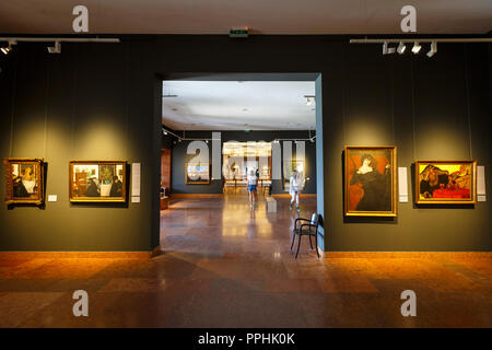 Budapest, Hungary - August 16, 2018: Interior of the Hungarian National Gallery in Budapest. - Stock Photo