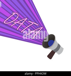 Text sign showing Data. Conceptual photo Piece of information Facts and statistics collected as reference. - Stock Photo