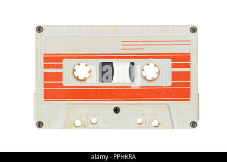 Retro white audio cassette tape isolated on white background. Red striped label. - Stock Photo