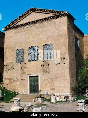 Rome, Italy. Curia Julia or Senate House, built in 44 BC by Julius Caesar. It was finished by Augustus Caesar, in 29 BC. Conversion into the basilica of Sant' Adriano al Foro in 7th century. Stock Photo