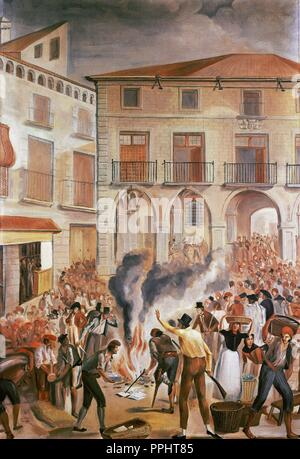 Peninsular War (1807-1814). Summer campaigns, 1808. Bruch combats. Mural painting from Mas de les Ferreres (Rellinars), 1811. Copy of F. Cuixar. Manresa burning of French stamped paper in the main square of the city, June 2, 1808. - Stock Photo