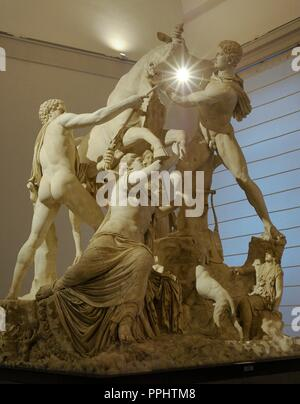 The Farnese Bull. Roman copy (3rd century AD) of a Hellenistic sculpture. Myth of Dirce. She was tied to a wild bull by the sons of Antiope, Amphion and Zethus. From baths of Caracalla, Rome. National Archaeological Museum, Naples. Italy. - Stock Photo