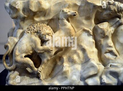 The Farnese Bull. Roman copy (3rd century AD) of a Hellenistic sculpture. Myth of Dirce. Base. Relief. Hunting scene. From baths of Caracalla, Rome. National Archaeological Museum, Naples. Italy. - Stock Photo