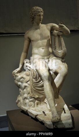 Ludovisi-type Apollo, with ancient head of the 'Apollo-Chingi' type. 2nd century AD. Body: reworking of an original of the late 2nd century BC; head: copy of an original of the 4th or 2nd century BC. - Stock Photo