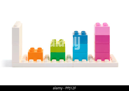 Four bars chart made from colorful building blocks toys - Stock Photo