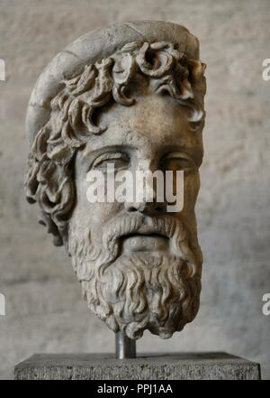 Greek Art. Head from a statue of Asclepius, the god of healing. Roman sculpture after original of about 420 BC. Glyptotek. Munich. Germany.