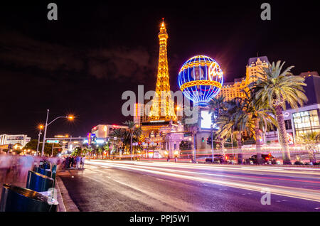 Long exposure of the Las Vegas Boulevard - Stock Photo