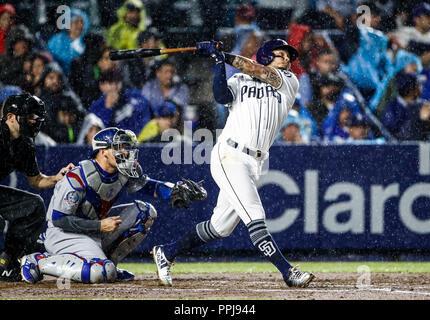 Freddy Galvis de San Diego, durante el partido de beisbol de los Dodgers de Los Angeles contra Padres de San Diego, durante el primer juego de la seri - Stock Photo
