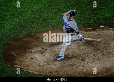 Daniel Hudson .  Baseball action during the Los Angeles Dodgers game against San Diego Padres, the second game of the Major League Baseball Series in  - Stock Photo