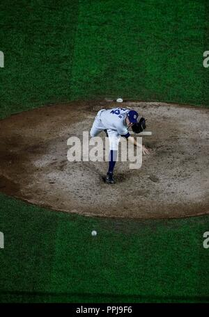 Craig Stammen .  Baseball action during the Los Angeles Dodgers game against San Diego Padres, the second game of the Major League Baseball Series in  - Stock Photo
