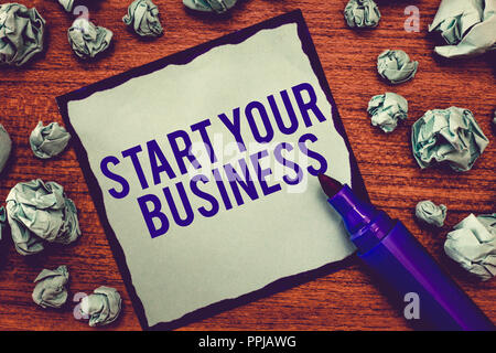 Writing note showing Start Your Business. Business photo showcasing going into a New Venture Create New Product Services. - Stock Photo