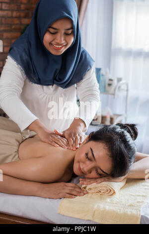 woman relaxing in the spa massage - Stock Photo