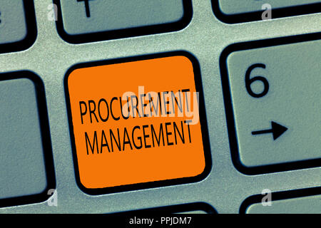Writing note showing Procurement Management. Business photo showcasing buying Goods and Services from External Sources. - Stock Photo