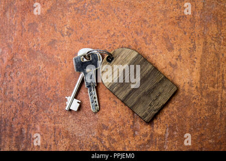 Bunch of scrached keys with empty wooden label - Stock Photo