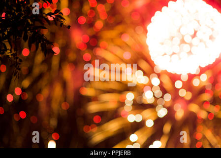 Colorful firework. Amazing fireworks with bokeh from drops on the lens, fireworks 2019, fireworks background, fireworks event, Celebration in the town - Stock Photo