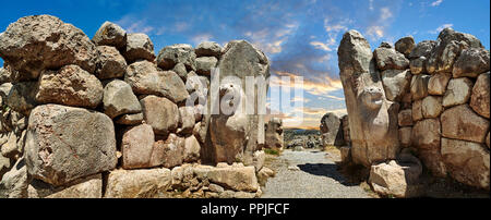 Hittite lion sculpture of the Lion Gate. Hattusa (also Ḫattuša or Hattusas) late Anatolian Bronze Age capital of the Hittite Empire. Hittite - Stock Photo