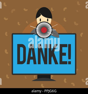 Conceptual hand writing showing Danke. Business photo text used as informal way of saying thank you in German language Thanking. - Stock Photo
