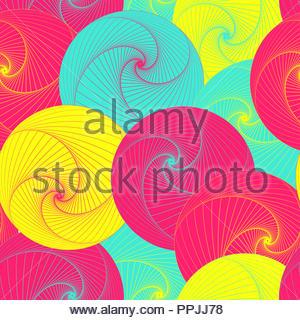 graphic vortex balls seamless pattern in pop shades - Stock Photo