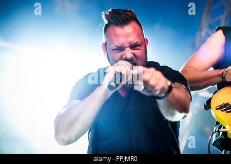 Sweden, Solvesborg - June 9, 2018. The Norwegian progressive metal band Circus Maximus performs a live concert during the Swedish music festival Sweden Rock Festival 2018. Here vocalist Michael Eriksen is seen live on stage. (Photo credit: Gonzales Photo - Terje Dokken). - Stock Photo