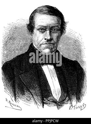 Charles Wheatstone (1802-1875), English scientist and inventor. Engraving, 1873. - Stock Photo