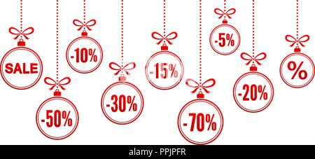 Discount christmas balls vector illustation isolated on white background - Stock Photo
