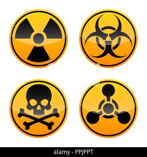 Danger vector signs set. Radiation, Biohazard ,Toxic and Chemical Weapons signs. Warning signs - Stock Photo