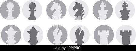 Chess pieces avatar vector icons isolated on white background - Stock Photo