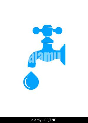 Water faucet with drop isolated on white background - Stock Photo