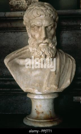 Epicurus (ca.341-270 BC). Greek philosopher. Roman bust, copy of a Greek original from the 3rd century BC. Capitoline Museums. Rome, Italy. - Stock Photo