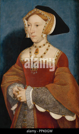 Jane Seymour, Queen of England. Date/Period: 1536. Painting. Oil on Wood. Height: 654 mm (25.74 in); Width: 407 mm (16.02 in). Author: Hans Holbein. Holbein the Younger, Hans. Holbein, Hans, the Younger. - Stock Photo