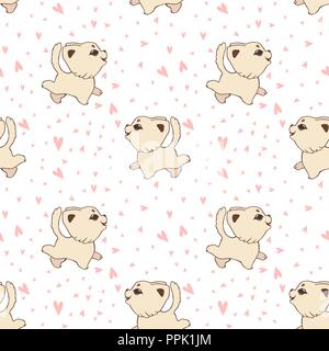 Vector cartoon seamless pattern with funny cats and dogs, Cute printable background for childish textile. - Stock Photo