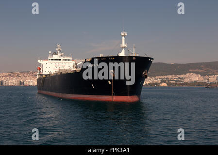 CROWN II chemical and oil products tanker at anchor near the port of Thessaloniki, Greece's second largest city. - Stock Photo