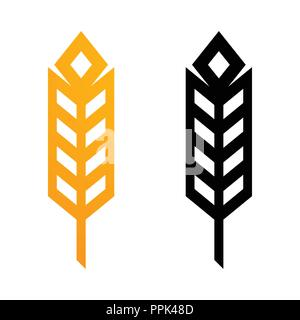 Wheat Ears Icons - Vector Illustrations of Golden and Black Symbols in Modern Geometric Style. - Stock Photo