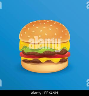 Vector Illustration of Tasty Classic Burger isolated on Blue neutral Background - Stock Photo