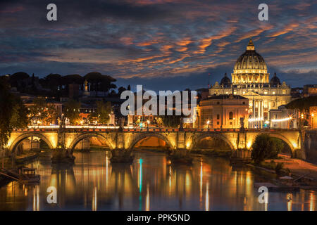 St Peters Basilica and Ponte Angelo - Stock Photo