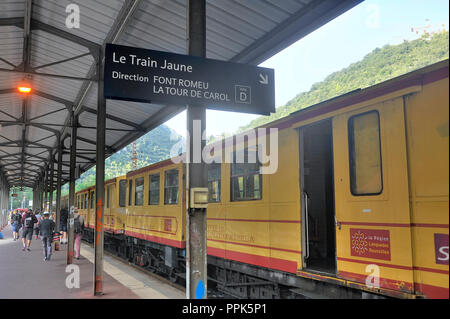 The yellow train of the Pyrenees in Villefranche station before departure for Latour de Carol - Stock Photo