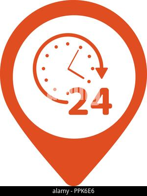 Open around the clock or 24 hours a day and 7 days a week symbol on map pin icon isolated on white background. Vector illustration - Stock Photo