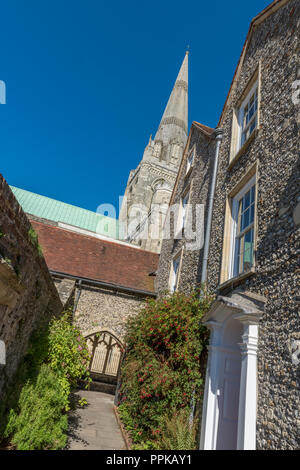 Chichester cathedral in west sussex viewd from a different and unusual viewpoint in st Richard's walk. - Stock Photo