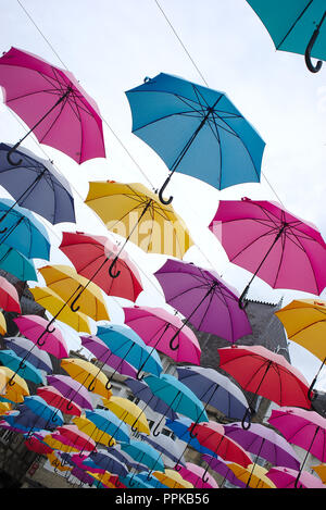 umbrellas sky multicolored, Pontivy. Brittany, morbihan.France - Stock Photo