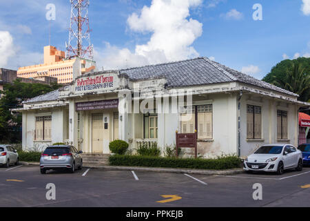 Phuket, Thailand - 2nd September 2018: The former main post office. The building is now a philatelic museum. - Stock Photo