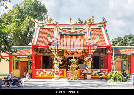 Phuket, Thailand - 2nd September 2018: Chinese buddhist temple, Phuket town, The temples reflect the Chinese heritage. - Stock Photo