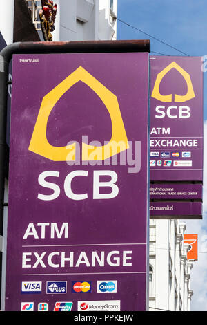 Phuket, Thailand - 2nd September 2018: The Siam Commercial Bank. The bank is one of the major banks in Thailand. - Stock Photo