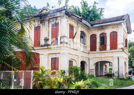 Phuket, Thailand - 2nd September 2018: Old, dilapidated Sino Portuguese mansion, Many of these early 20th centuy villas have been renovated. - Stock Photo