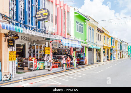 Phuket, Thailand - 2nd September 2018: Chinese tourists on Thalang Road. The architectural style is Sino Portuguese. - Stock Photo